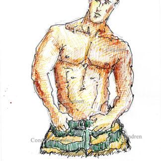 Bryan Thomas 315A multi-color pen & ink celebrity model torso drawing by artist Stephen Condren.