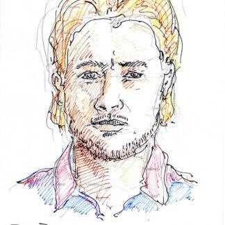 Brad Pitt 305A multi-color pen & ink celebrity actor portrait drawing by artist Stephen Condren.