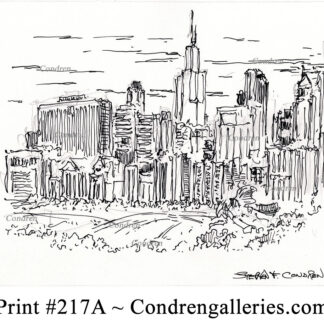 Chicago skyline 217A pen & ink cityscape drawing with view of Millennium Park by artist Stephen Condren.