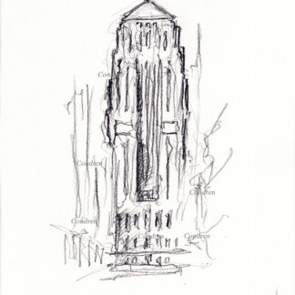 Board of Trade 215A Building pencil landmark drawing by artist Stephen Condren.