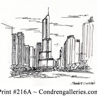 Trump Tower 216A pen & ink landmark drawing by artist Stephen Condren.