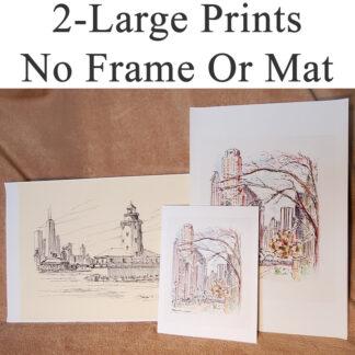 2-Large prints not matted or framed.