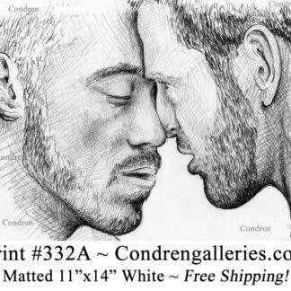 Men kissing 332A gay pencil portrait drawing by artist Stephen Condren.