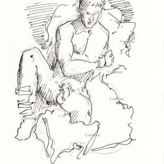 Nude male 333A pen & ink gay figure drawing of a sexy young man with a large flaccid uncut penis.