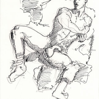 Nude male 338A pen & ink figure drawing of gay model Simon Dexter, with large uncut flaccid penis and harry balls.
