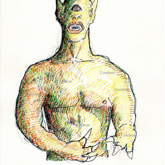 Cyclopes 371A multi-color pen & ink mythology drawing by artist Stephen Condren.
