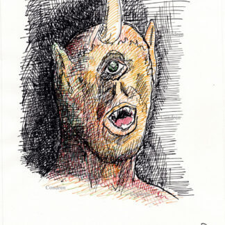 Cyclopes 374A multi-color pen & ink mythology drawing by artist Stephen Condren.