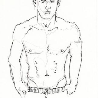Colton Underwood 387A shirtless male torso figure pen & ink drawing by artist Stephen Condren.