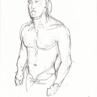 Eric Helms 413A shirtless male torso figure pencil drawing by artist Stephen Condren, with fit torso, and abs.