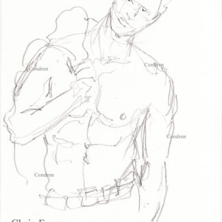 Chris Evans 416A pencil gay figure drawing by Stephen Condren with sexy 6-pack, abs, and fit torso.