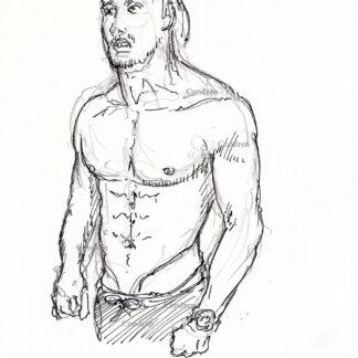 Eric Helms 415A shirtless male torso figure pen & ink drawing by artist Stephen Condren.