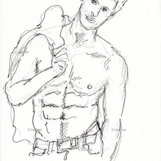 416A Chris Evans pen & ink Drawing by Stephen Condren. Figure.