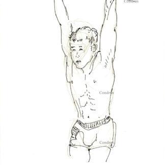 Gymnast 418A shirtless male torso figure pen & ink drawing by artist Stephen Condren.