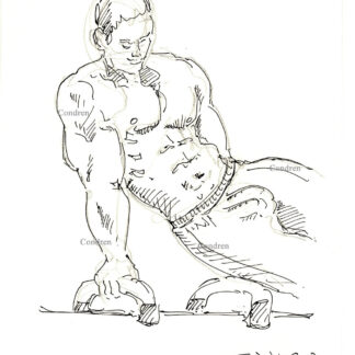 Gymnast 419A, on horse bench shirtless male torso figure pen & ink drawing by artist Stephen Condren.
