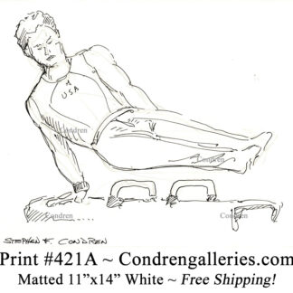 Gymnast 421A on a horse bench pen & ink figure drawing by artist Stephen Condren.