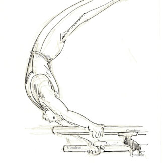 Gymnast 425A on parallel bars pen & ink figure drawing by artist Stephen Condren.