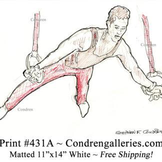 Gymnast 431A on rings pen & ink figure drawing by artist Stephen Condren.