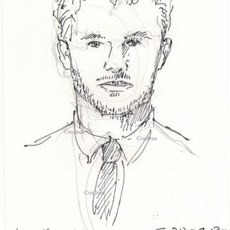 Chris Hemsworth 441A celebrity actor pen & ink portrait drawing by artist Stephen Condren.
