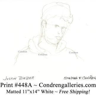Justin Bieber 448A celebrity singer pencil portrait drawing by artist Stephen Condren.