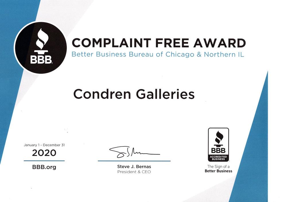 Better Business Bureau Complaint Free Award. BBB 2020