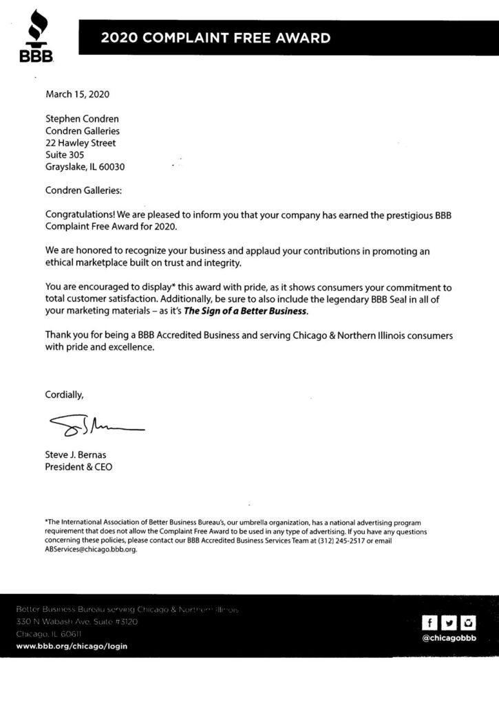 Better Business Bureau Complaint Free Award letter. BBB 2020