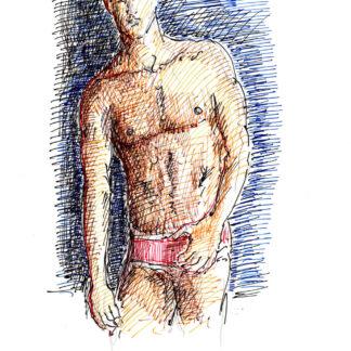 Drew Pare 317A shirtless male torso color pen & ink figure drawing by artist Stephen Condren.