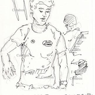 Alex from Target 367A celebrity bagger pen & ink drawing by artist Stephen Condren.