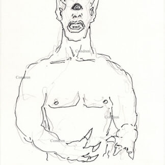 Cyclopes 370A multi-color pen & ink mythology drawing by artist Stephen Condren.