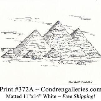 Pyramids 372A pen & ink landmarkdrawing by artist Stephen Condren.