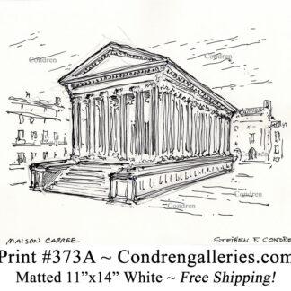 Maison Carree 373A pen & ink landmark drawing by artist Stephen Condren.