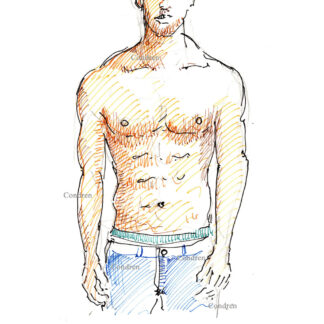 Janis Danner 318A shirtless male torso color pen & ink figure drawing by artist Stephen Condren.