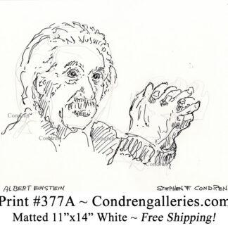 Albert Einstein 377A celebrity Scientist pen & ink portrait drawing by artist Stephen Condren.