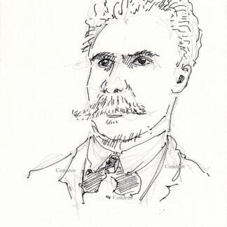 Frederich Nietzsche 380A Philosopher pen & ink portrait drawing by artist Stephen Condren.