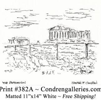 Parthenon 382A pen & ink landmark drawing by artist Stephen Condren.