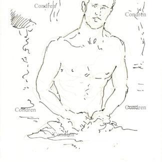 Jorge del Rio Romero 328A shirtless gay male figure pen & ink drawing by artist Stephen Condren.