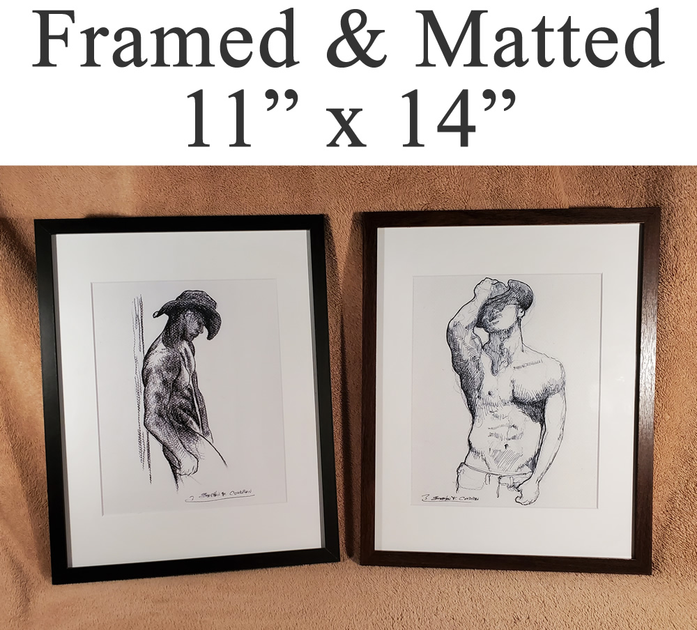 Framed matted figure drawing prints of gay porn, and sex art.