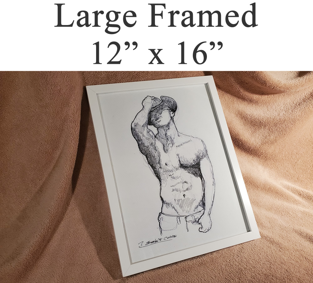 Large framed sex figure drawing prints of porn, and sex art.