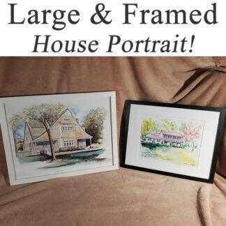Large framed house portrait.