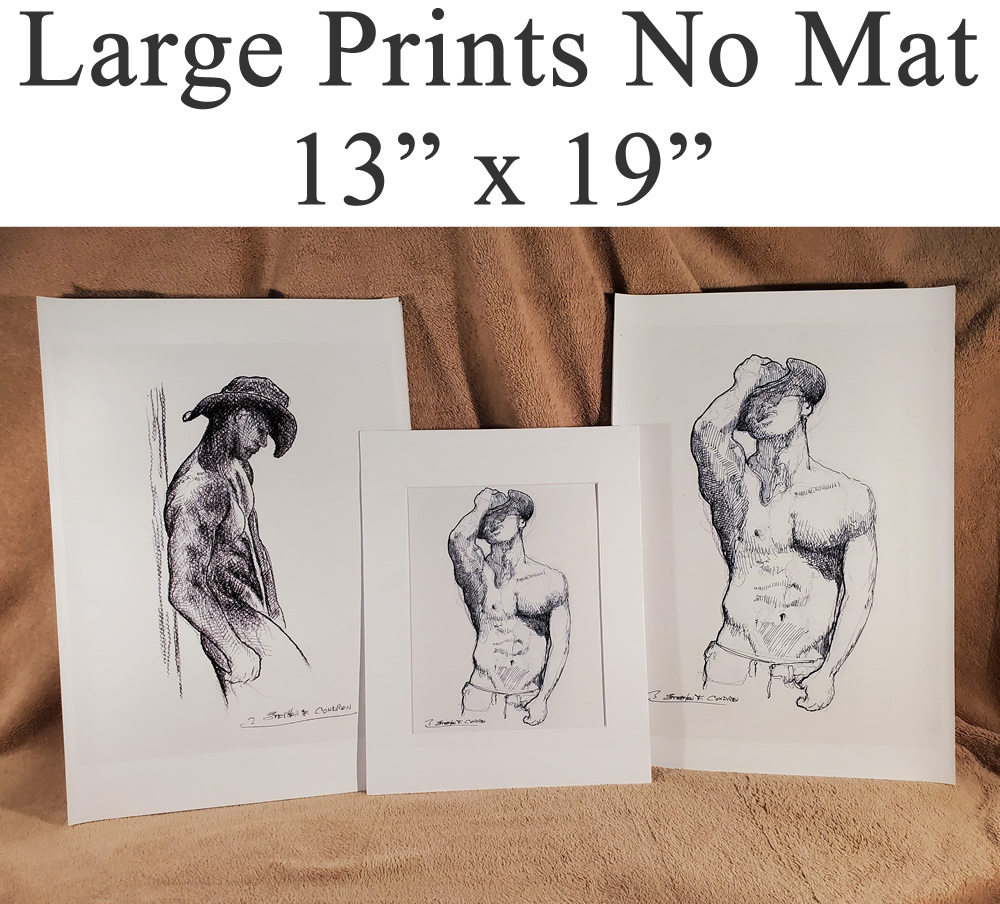 Large un-matted sex figure drawing prints of gay porn, and sex art.