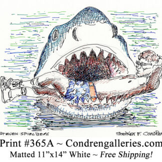 Steven Spielberg 365A celebrity actor pen & ink drawing in the mouth of Jaws by artist Stephen Condren.