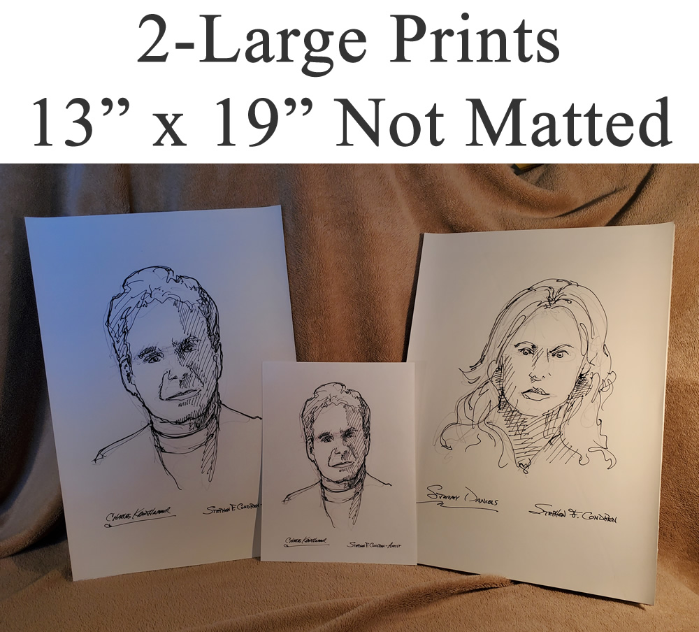 Large celebrity person prints of people, men, children, and women.
