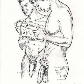Nude gay men 453A standing naked with large harry cocks & balls with low hangers pen & ink drawing.