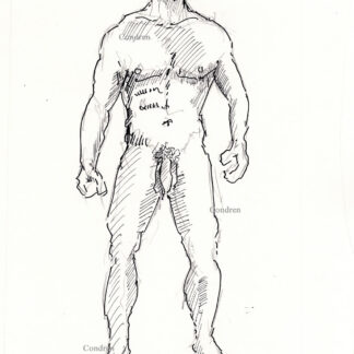 Nude male 457A pen & ink gay figure drawing standing with 6-pack, and muscular physique. and flaccid uncut penis,