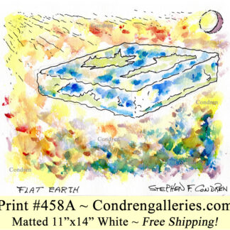 Flat earth 458A square platter with corners pen & ink with watercolor drawing by artist Stephen Condren.