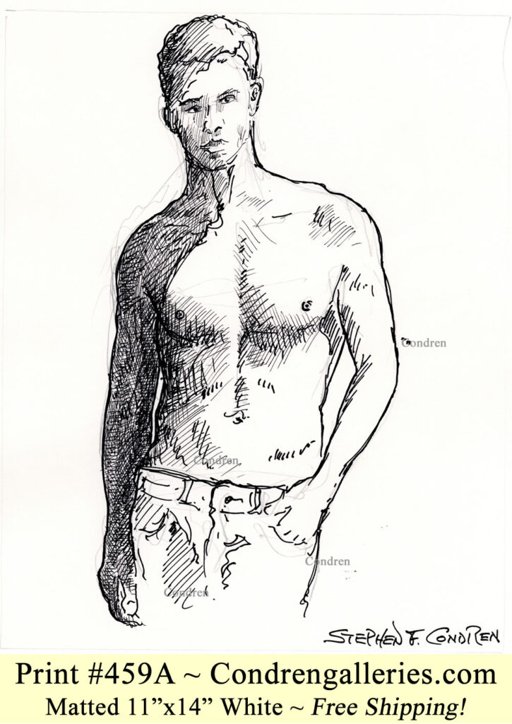Shirtless male 459A pen & ink figure drawing of supermodel Matt Qualley with sexy 6-pack, fit abs, and muscular physique.