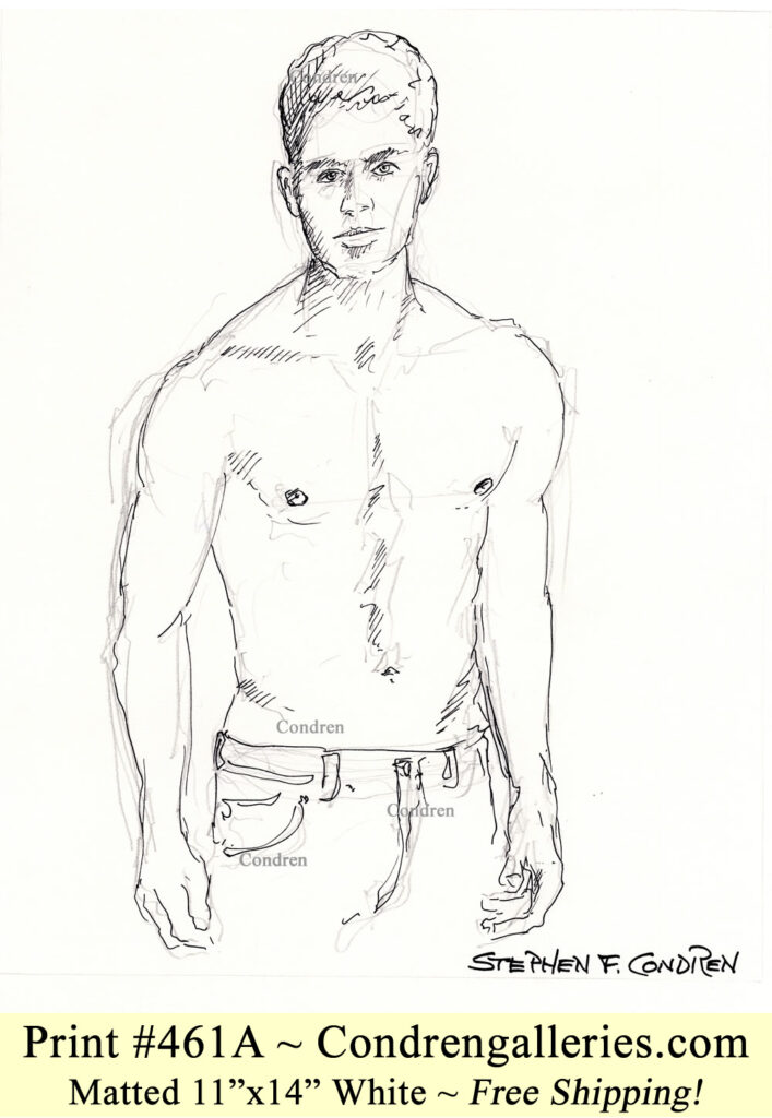 Shirtless male 461A pen & ink figure drawing of supermodel Matt Qualley with sexy 6-pack, fit abs, and muscular physique.