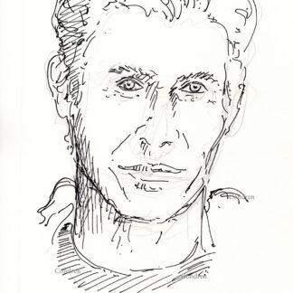 Bill Crudup 462A celebrity actor pen & ink portrait drawing by artist Stephen Condren.