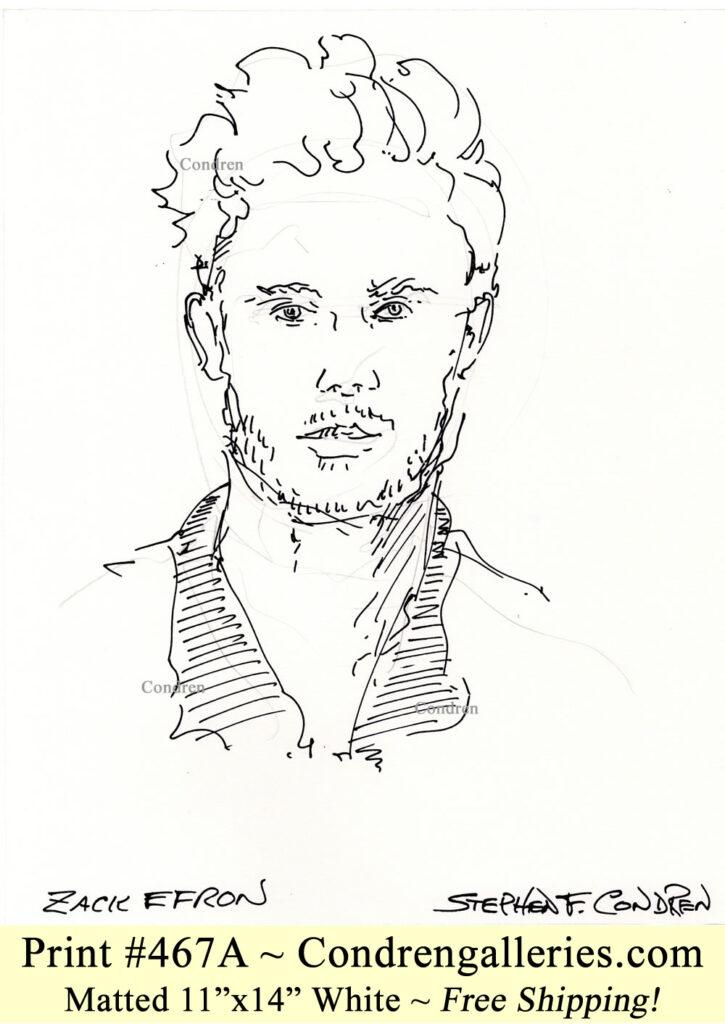 Zac Efron 467A pen & ink celebrity portrait drawing by Stephen Condren.