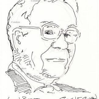Warren Buffett 469A pen & ink celebrity portrait drawing by Stephen Condren.
