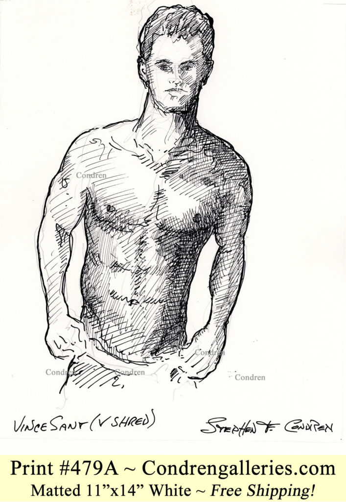 V Shred 479A pen & ink drawing of nutritionist and body builder Vince Sant with fit body, tight abs, and hot 6-pack.